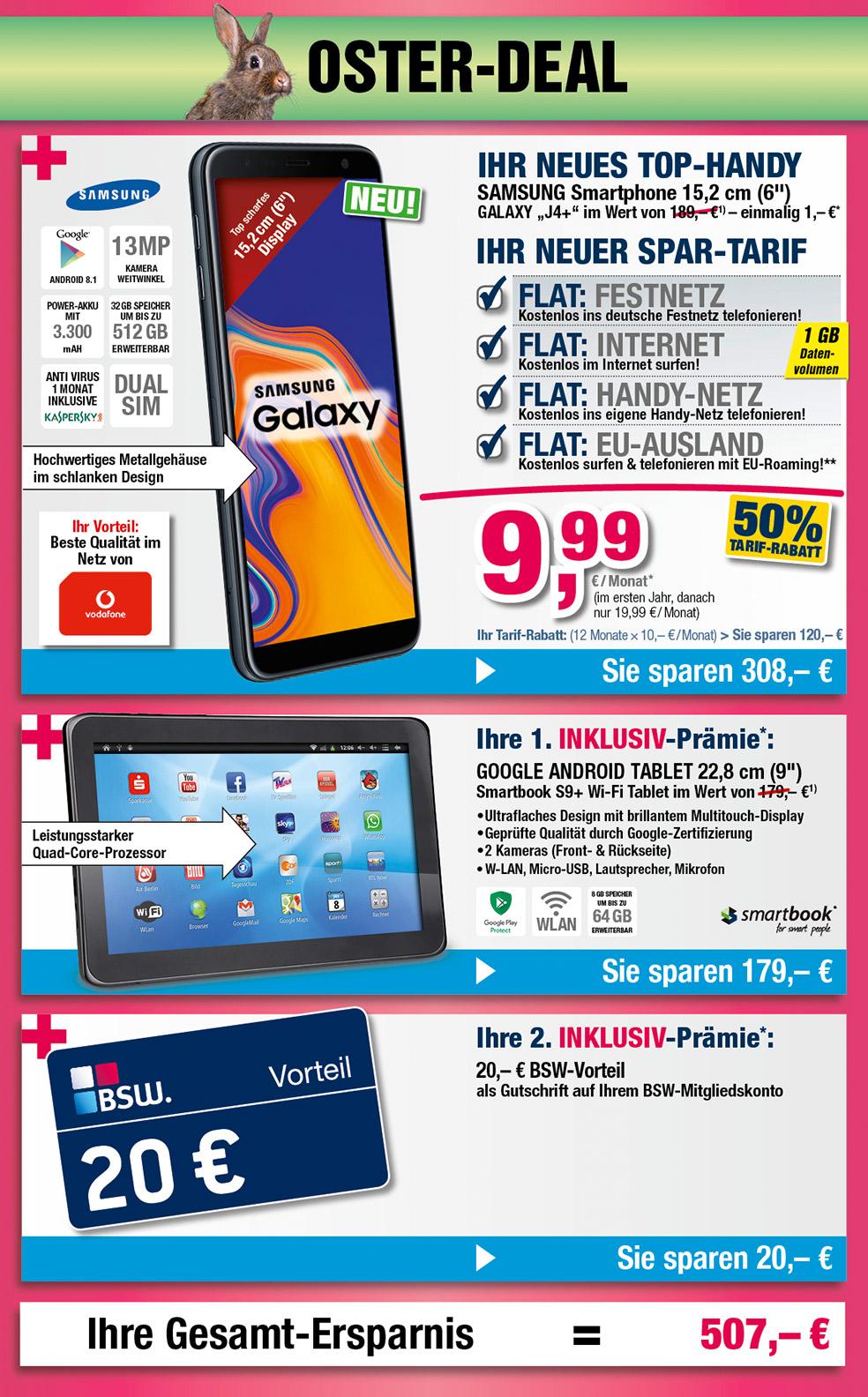 """9"""" Tablet + 20€ BSW-Vorteil INKLUSIVE + Samsung Galaxy J4+"""
