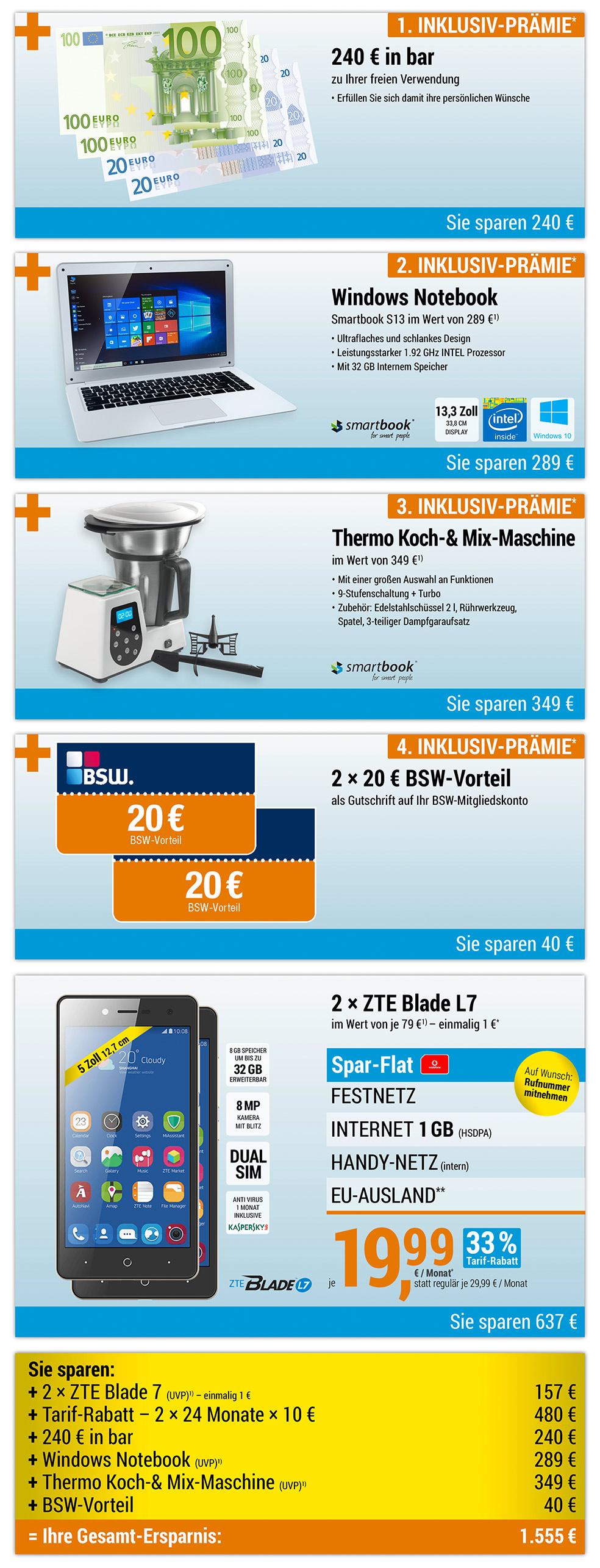 240 € bar + Notebook + Thermo-Koch- und Mix-Maschine + 2 × 20€ BSW-Vorteil INKLUSIVE + 2 × ZTE Blade L7
