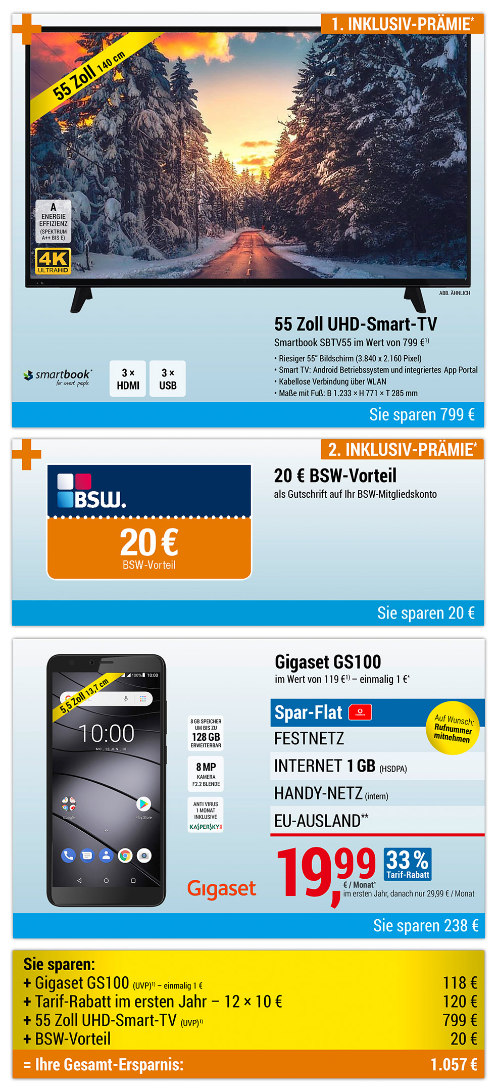 55 Zoll 4K XXL Smart-TV INKLUSIVE + Gigaset GS100
