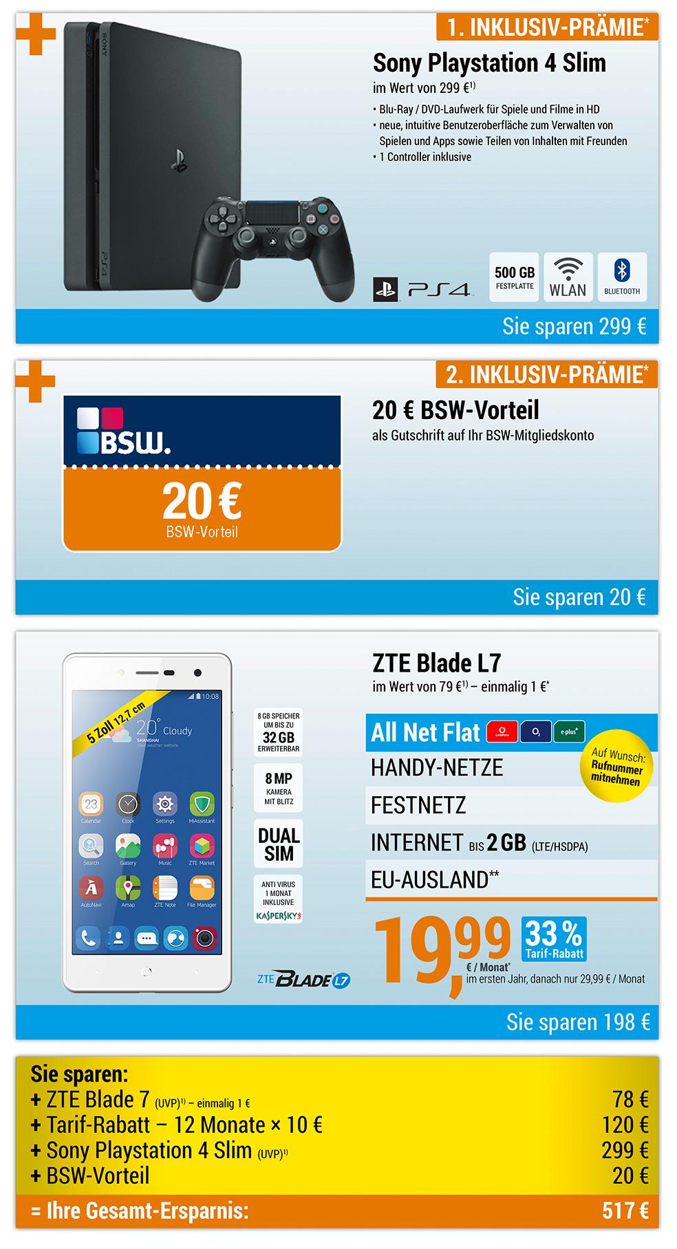 Für nur 1 €*: ZTE Blade L7 + SONY PlayStation 4 Slim + 20 € BSW-Vorteil mit ALL NET FLAT für 19,99€/Monat im ersten Jahr