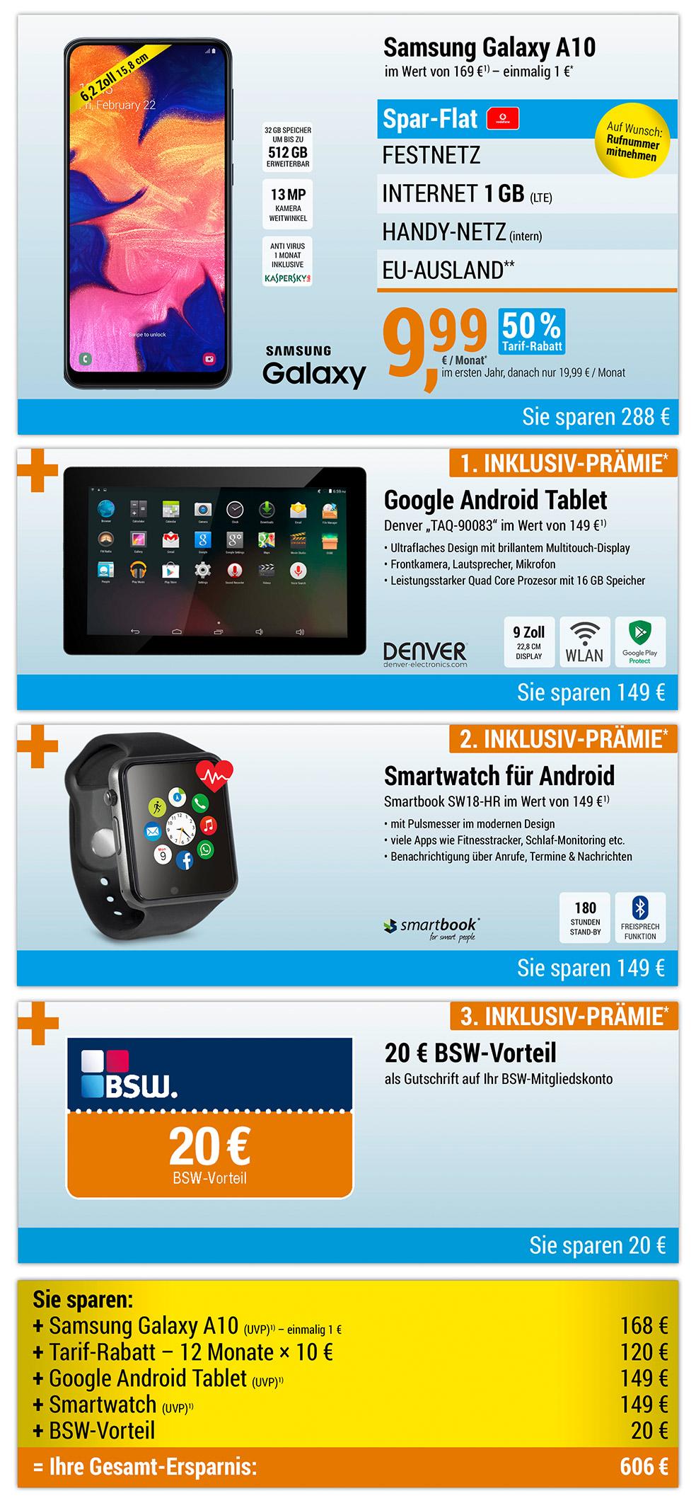 9'' Denver Tablet + Smartwatch + 20 € BSW-Vorteil INKLUSIVE + Samsung Galaxy A10