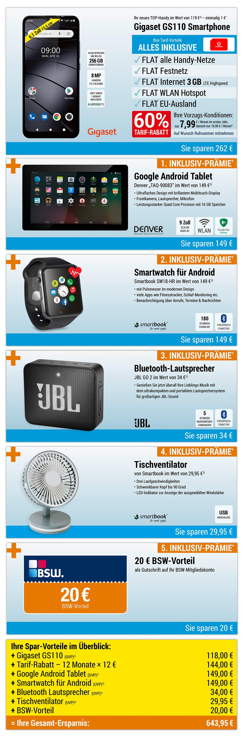 Tablet + Smartwatch + Lautsprecher + Tischventilator + 20 € BSW-Vorteil INKLUSIVE + Gigaset GS110